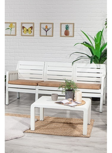 Sandalie Lara 3+1+1+S Balkon&Teras&Bahçe Mobilyası / Beyaz Beyaz
